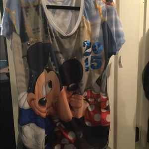Brand New XL Disney top Mickey and Minnie Mouse